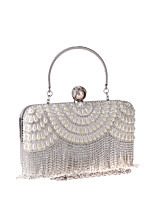 cheap -Women's Crystals / Tassel Polyester Evening Bag Solid Color Gold / Silver