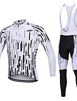 cheap -YORK TIGERS Men's Long Sleeve Cycling Jersey with Bib Tights - Kid's Winter Fleece Silicone Elastane White Bike Jersey Bib Tights Thermal / Warm Breathable 3D Pad Quick Dry Reflective Strips Sports