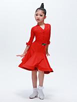 cheap -Latin Dance Outfits Girls' Training / Performance Elastane Split Joint Half-Sleeve Natural Skirts / Top