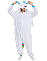 cheap -Adults' Kigurumi Pajamas Unicorn Onesie Pajamas Flannelette White Cosplay For Men and Women Animal Sleepwear Cartoon Festival / Holiday Costumes / Leotard / Onesie