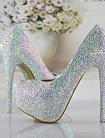 cheap -Women's Wedding Shoes Stiletto Heel Round Toe Rhinestone / Sparkling Glitter PU Vintage / Sweet Fall & Winter Rainbow / Party & Evening / Color Block