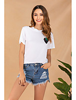 cheap -Women's Daily Basic T-shirt - Solid Colored Print White