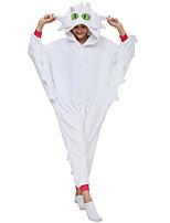 abordables -Adulte Pyjamas Kigurumi Édenté Combinaison de Pyjamas Molleton Blanche Cosplay Pour Homme et Femme Pyjamas Animale Dessin animé Fête / Célébration Les costumes / Collant / Combinaison