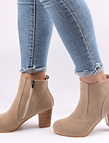 cheap -Women's Boots Chunky Heel Round Toe Suede Booties / Ankle Boots Winter Black / Beige