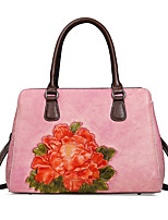 cheap -Women's Zipper Nappa Leather Top Handle Bag Floral Print Light Coffee / Purple / Red