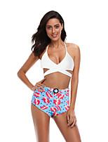 cheap -Women's Basic White Blue Red Bandeau Cheeky High Waist Bikini Swimwear - Floral Geometric Color Block Lace up Print S M L White