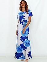 cheap -Women's A Line Dress - Floral Blue S M L XL