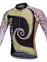 cheap -YORK TIGERS Men's Long Sleeve Cycling Jersey Winter Silicone Elastane Terylene Black Floral Botanical Bike Jersey Top Mountain Bike MTB Road Bike Cycling Thermal / Warm Breathable Quick Dry Sports