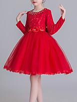 cheap -Toddler Girls' Color Block Long Sleeve Above Knee Dress White