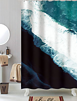 cheap -Shower Curtains with Hooks Blue Waves Polyester Novelty Fabric Waterproof Shower Curtain for Bathroom