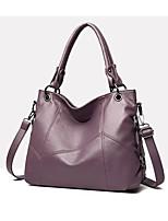 cheap -Women's PU Top Handle Bag Solid Color Black / Wine / Purple