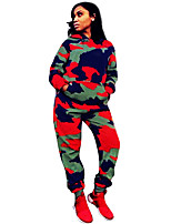 cheap -Women's 2-Piece Tracksuit Sweatsuit 2pcs Running Fitness Jogging Windproof Breathable Soft Sportswear Camo Athletic Clothing Set Long Sleeve Activewear Micro-elastic Regular Fit