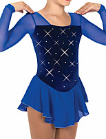 cheap -Figure Skating Dress Women's Girls' Ice Skating Dress Royal Blue Patchwork Spandex High Elasticity Training Competition Skating Wear Patchwork Crystal / Rhinestone Long Sleeve Ice Skating Figure