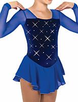 abordables -Robe de Patinage Artistique Femme Fille Patinage Robes Bleu Roi Mosaïque Spandex Haute élasticité Entraînement Compétition Tenue de Patinage Mosaïque Cristal / Stras Manches Longues Patinage sur