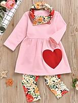 cheap -Kids Girls' Basic Print Long Sleeve Clothing Set Blushing Pink