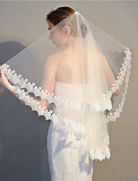 cheap -Two-tier Antique / Sweet Style Wedding Veil Fingertip Veils with Solid 35.43 in (90cm) 100% Polyester / Classic