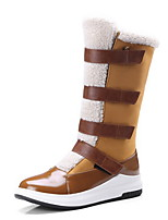 cheap -Women's Boots Flat Heel Round Toe PU Mid-Calf Boots Fall & Winter Black / Brown / Color Block