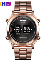 cheap -SKMEI Men's Steel Band Watches Quartz Stylish Stainless Steel Black / Blue / Silver 30 m Water Resistant / Waterproof New Design Shock Resistant Digital Fashion - Black Golden+Black Rose Gold Two