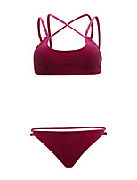 cheap -Women's Sporty Basic Red Halter Cheeky Bikini Swimwear - Solid Colored Backless Criss Cross S M L Red