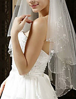 cheap -Two-tier Classic Style / Lace Wedding Veil Elbow Veils with Solid / Pattern 59.06 in (150cm) POLY / Lace