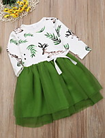 cheap -Toddler Girls' Color Block Long Sleeve Above Knee Dress Green