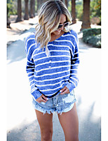 cheap -Women's Daily Street chic T-shirt - Striped / Solid Colored Backless / Cut Out / Patchwork Yellow