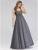 cheap -A-Line Spaghetti Strap Floor Length Lace / Tulle Vintage Inspired Prom Dress with Lace Insert by LAN TING Express