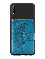 cheap -Case For Huawei Huawei Y9 (2018)(Enjoy 8 Plus) / Huawei Y7 Prime (2018) / Huawei Y7 Pro(2019) Card Holder / with Stand / Ultra-thin Back Cover Butterfly PU Leather / TPU