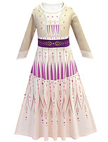 cheap -Princess Anna Dress Flower Girl Dress Girls' Movie Cosplay A-Line Slip Halloween Christmas Beige Dress Christmas Halloween