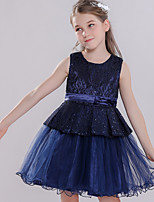 cheap -Princess Dress Masquerade Flower Girl Dress Girls' Movie Cosplay A-Line Slip Cosplay Halloween Ink Blue Dress Halloween Carnival Masquerade Tulle Polyester