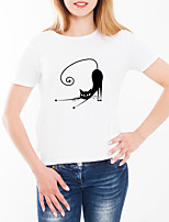 cheap -Women's Daily Going out Basic T-shirt - Animal / Cartoon Cat, Print White