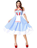 cheap -Dorothy Dress Masquerade Women's Movie Cosplay Cosplay Halloween Light Blue Dress Sleeves Headwear Halloween Carnival Masquerade Polyester