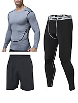 cheap -Men's Elastane Tracksuit Sweatsuit 3pcs Running Fitness Jogging Windproof Breathable Quick Dry Sportswear Shorts Tee / T-shirt Compression Clothing Long Sleeve Activewear Stretchy Skinny