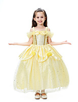cheap -Belle Dress Masquerade Flower Girl Dress Girls' Movie Cosplay A-Line Slip Cosplay Halloween Yellow Dress Halloween Carnival Masquerade Tulle Polyster