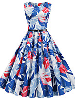 cheap -Women's Daily Dress Vintage Basic Swing Dress - Floral Print Blue S M L XL
