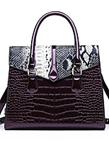 cheap -Women's Polyester / PU Top Handle Bag Solid Color Black / Brown / Purple