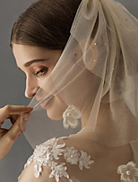 cheap -Three-tier Classic Style / Lace Wedding Veil Shoulder Veils with Solid / Pattern 23.62 in (60cm) POLY / Lace