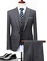 abordables -Noir / Bleu / Gris Couleur Pleine Coupe Sur-Mesure Polyester Costume - Cranté Droit 1 bouton / costumes