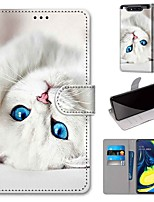 cheap -Case For Samsung Galaxy S10 / S10 Plus / S10 E Wallet / Card Holder / with Stand White Cat PU Leather / TPU for A10s / A20s / A50(2019) / A70(2019) / A90(2019) / Note 10 Plus / J6 Plus(2018)