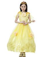 cheap -Belle Dress Masquerade Flower Girl Dress Girls' Movie Cosplay A-Line Slip Cosplay Halloween Yellow Dress Halloween Carnival Masquerade Tulle Cotton
