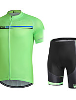 cheap -WECYCLE Men's Short Sleeve Cycling Jersey with Shorts Winter Black / Green Bike Clothing Suit 3D Pad Warm Quick Dry Sports Solid Color Mountain Bike MTB Road Bike Cycling Clothing Apparel / Stretchy