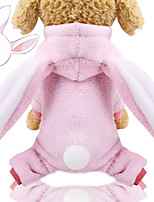 cheap -Dog Hoodie Jumpsuit Winter Dog Clothes Pink Costume Flannel Fabric Rabbit / Bunny Cosplay XS S M L XL XXL
