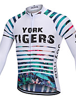 cheap -YORK TIGERS Men's Long Sleeve Cycling Jersey Winter Silicone Elastane Terylene White Floral Botanical Bike Jersey Top Mountain Bike MTB Road Bike Cycling Thermal / Warm Breathable Quick Dry Sports