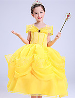 cheap -Belle Dress Masquerade Flower Girl Dress Girls' Movie Cosplay A-Line Slip Cosplay Halloween Yellow Dress Halloween Carnival Masquerade Tulle Cotton