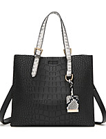 cheap -Women's Polyester / PU Top Handle Bag Solid Color Black / Red / Gray