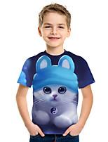 abordables -Enfants Garçon Actif Chic de Rue Chat 3D Animal Imprimé Manches Courtes Tee-shirts Bleu