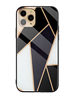 cheap -Case for Apple scene map iPhone 11 11 Pro 11 Pro Max X XS XR XS Max 8 Marble pattern diamond-shaped plated tempered glass back plate TPU frame 2-in-1 mobile phone case