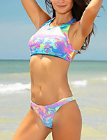 cheap -Women's Basic Rainbow Halter High Waist Tankini Swimwear - Abstract S M L Rainbow