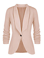 abordables -Femme Blazer, Couleur Pleine Col en V Polyester Noir / Vin / Rose Claire