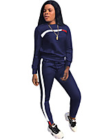 cheap -Women's Side-Stripe 2-Piece Tracksuit Sweatsuit 2pcs Round Neck Running Fitness Jogging Reflective Windproof Breathable Sportswear Athletic Clothing Set Long Sleeve Activewear Micro-elastic Regular